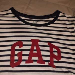 "GAP Tops - blue and white stripped shirt with red ""gap"""